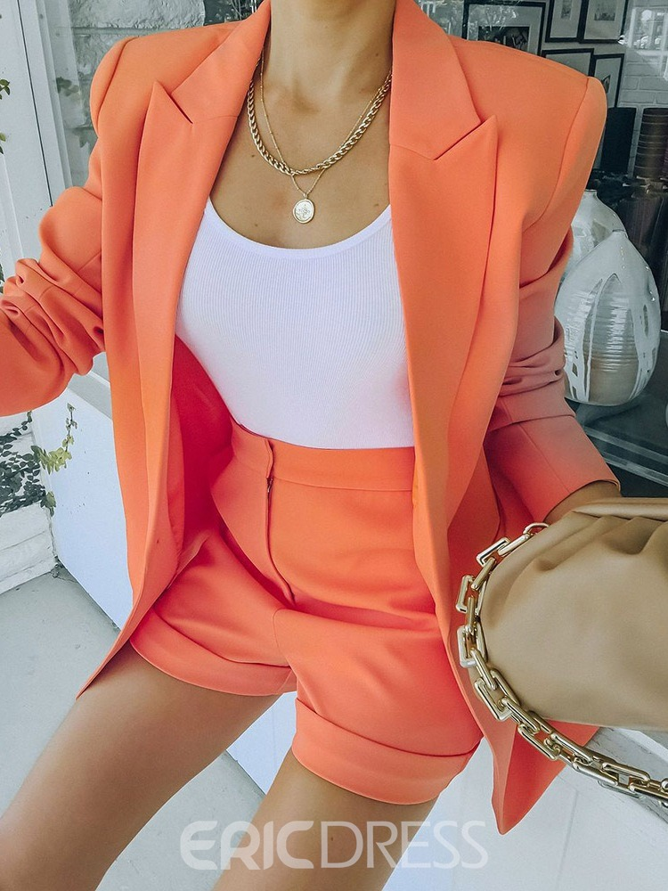 Ericdress One Button Plain Notched Lapel Spring Mid-Length Casual Blazer