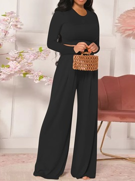 Ericdress Pants Fashion Plain Straight Pullover Two Piece Sets