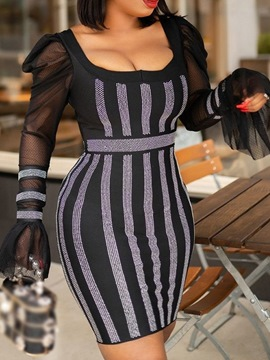 Ericdress Above Knee Patchwork Long Sleeve Bodycon Pullover Dress