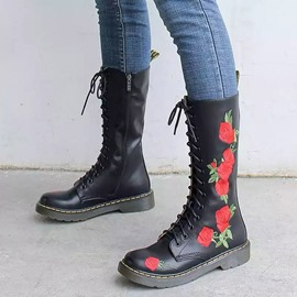 Ericdress Round Toe Floral Side Zipper Western Boots
