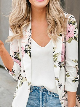 Ericdress Wrapped Floral Three-Quarter Sleeve Mid-Length Spring Casual Blazer