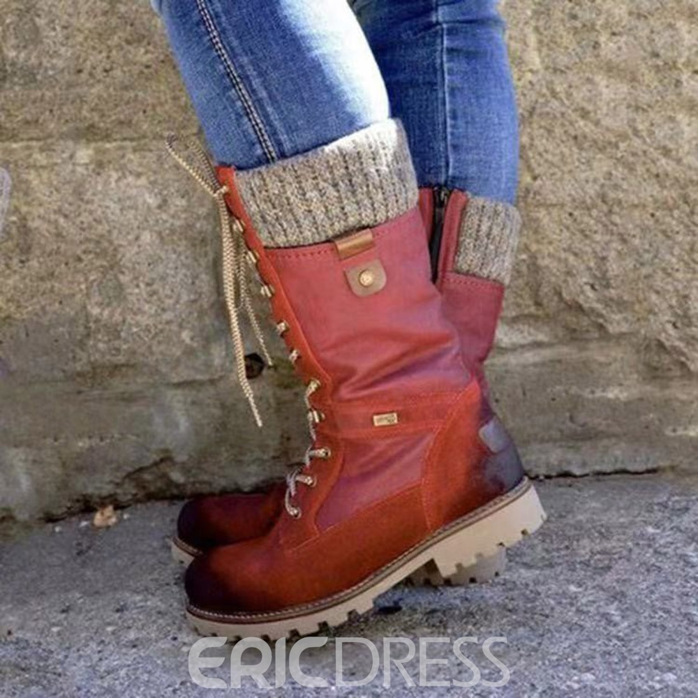 Ericdress Round Toe Lace-Up Front Patchwork Professional Boots