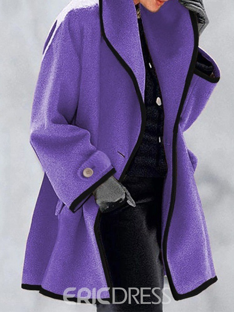 Ericdress One Button A Line Button Mid-Length Spring Overcoat