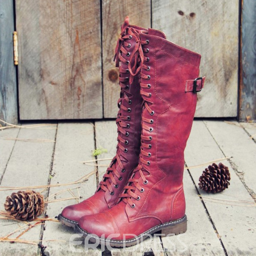 Ericdress Lace-Up Front Block Heel Round Toe Cross Strap Boots