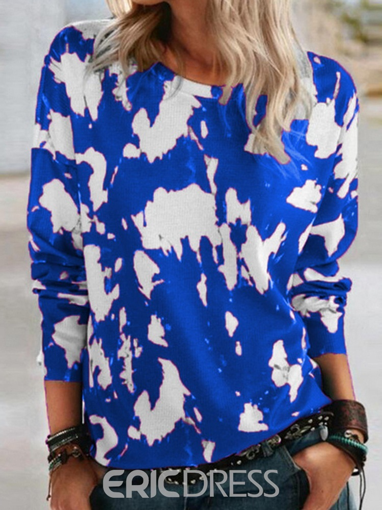 Ericdress Cow Prints Long Sleeve Round Neck Loose Casual T-Shirt