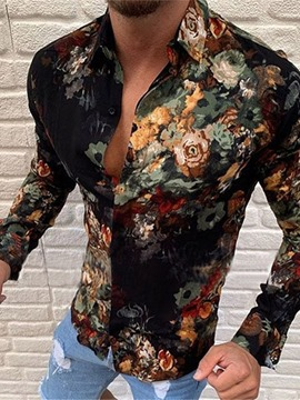 Ericdress Floral Lapel Fashion Single-Breasted Men's Slim Shirt