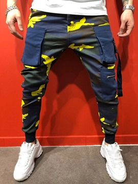 Ericdress Camouflage Overall Pocket Four Seasons Mid Waist Men's Casual Pants