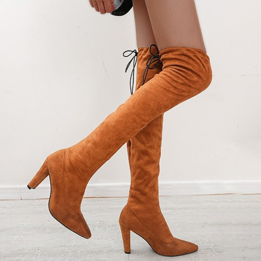 Ericdress Chunky Heel Pointed Toe Lace-Up Back Short Floss Boots