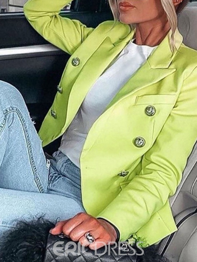 Ericdress Long Sleeve Double-Breasted Plain Regular Spring Casual Blazer