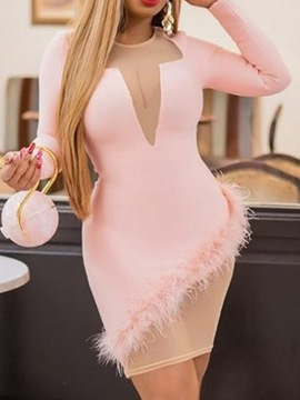 Ericdress Pink Above Knee Round Neck Feather Pullover Color Block Dress
