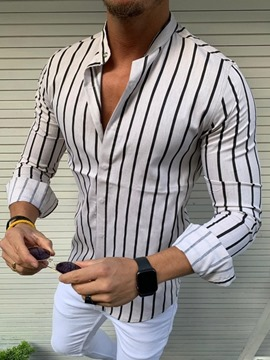 Ericdress Stand Collar Stripe Casual Single-Breasted Slim Shirt