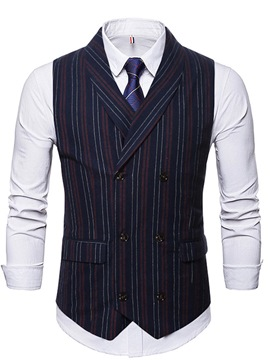Ericdress Stripe Button Double-Breasted England Waistcoat
