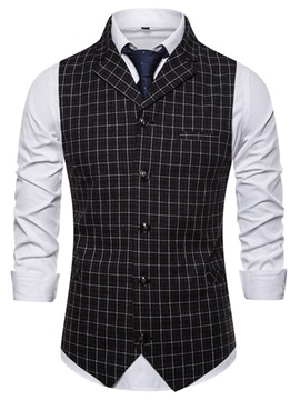 Ericdress Button Plaid Single-Breasted Spring Waistcoat