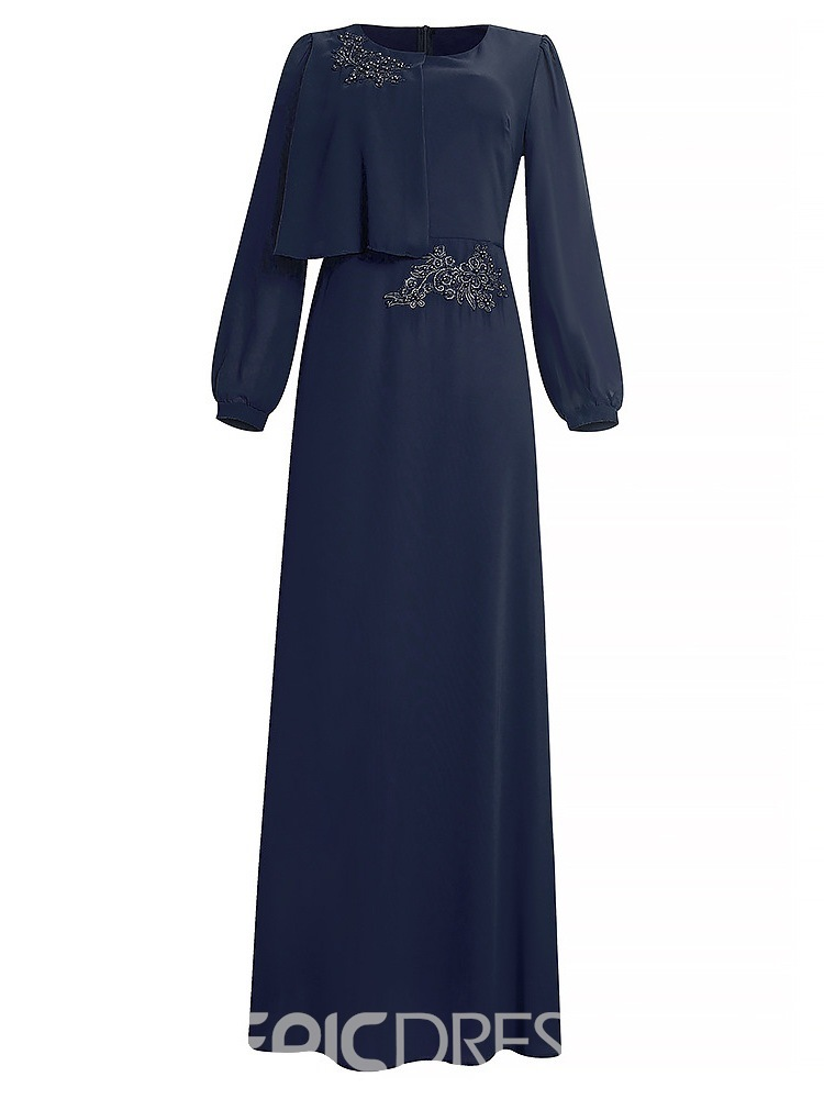 Ericdress Round Neck Embroidery Long Sleeve Expansion Sweet Dress