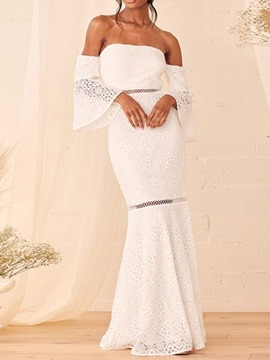 Ericdress Nine Points Sleeve Off Shoulder Hollow Pullover Fashion Dress