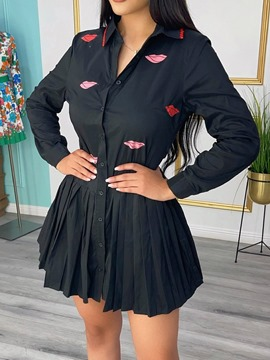 Ericdress Long Sleeve Above Knee Button Single-Breasted Sweet Dress