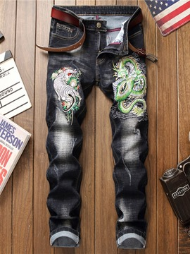 Ericdress Embroidery Color Block Zipper Fashion Jeans
