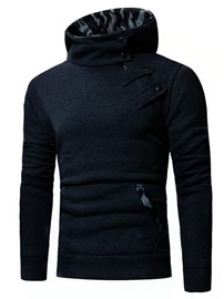 Ericdress Camouflage Pullover Button Hooded Slim Hoodies