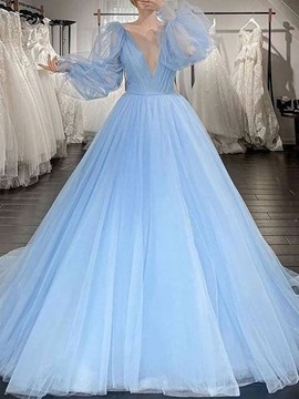 Ericdress Ball Gown V-Neck Long Sleeves Floor-Length Wedding Party Dress 2021