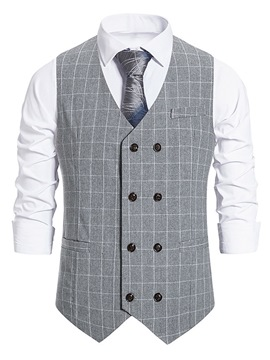Ericdress V-Neck Button Plaid Spring Double-Breasted Waistcoat