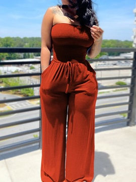 Ericdress Fashion Full Length Lace-Up Slim Straight Jumpsuit