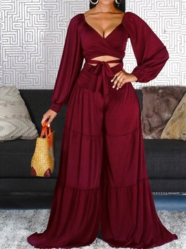 Ericdress Burgundy Belted Wide Legs V-Neck Two Piece Sets