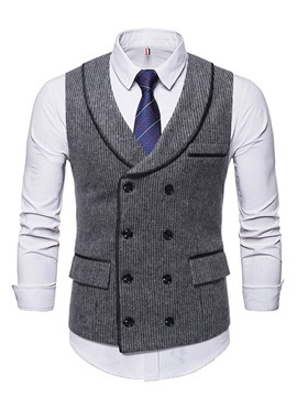 Ericdress Button Color Block Double-Breasted Fall Waistcoat