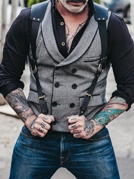 Ericdress Color Block Print OL Double-Breasted Waistcoat