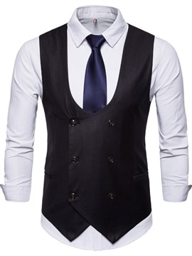 Ericdress Button Plain Double-Breasted Simple Waistcoat