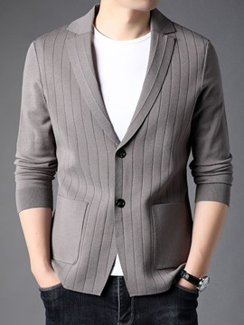Ericdress Standard Lapel Plain Casual Single-Breasted Sweater