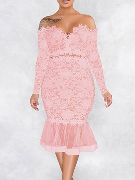 Ericdress Print Long Sleeve Mid-Calf Lace Floral Dress