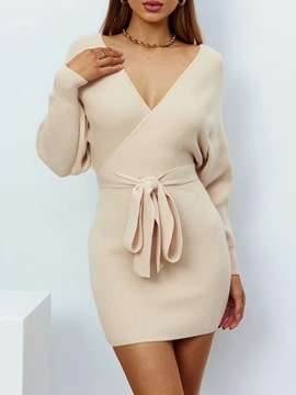 Ericdress Lace-Up Above Knee Long Sleeve Bodycon Summer Dress