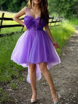 Ericdress A-Line Ankle-Length V-Neck Appliques Quinceanera Dress 2021 Homecoming