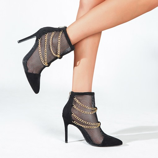 Ericdress Stiletto Heel Mesh Holow Pointed Toe Back Zip PU Boots