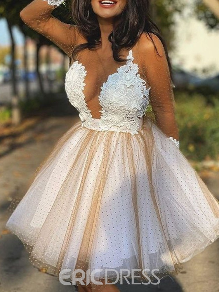 Ericdress Appliques Short/Mini Long Sleeves Ball Gown Cocktail Dress 2021
