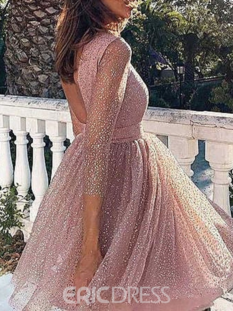 Ericdress Hoco 3/4 Length Sleeves Scoop A-Line Short/Mini Homecoming Dress 2020