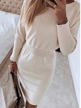 Ericdress Long Sleeve Above Knee Round Neck Winter Pullover Dress