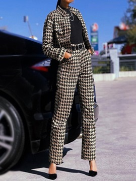 Ericdress Fashion Houndstooth Pocket Straight Lapel Two Piece Sets