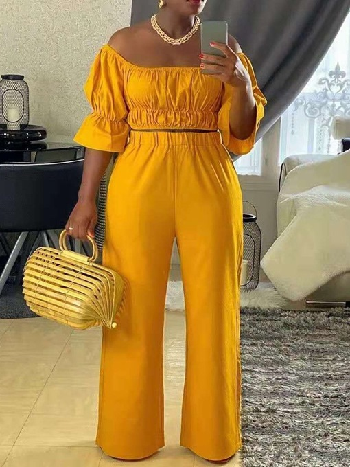 Ericdress T-Shirt Fashion Plain Pullover Straight Two Piece Sets