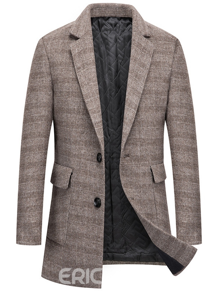 Ericdress Notched Lapel Button Mid-Length Fall Single-Breasted Coat