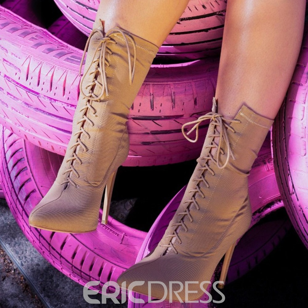 Ericdress Plain Pointed Toe Lace-Up Front Lace-Up Boots