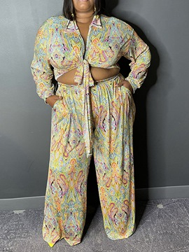 Ericdress Western Shirt Floral Straight Lapel Two Piece Sets