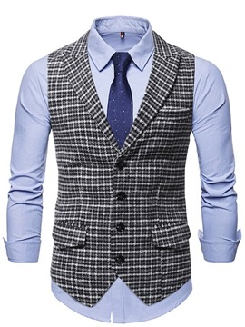 Ericdress Button Plaid Notched Lapel Single-Breasted OL Waistcoat