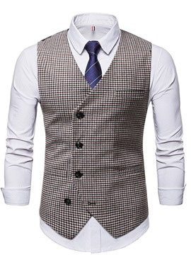 Ericdress Button V-Neck Color Block Single-Breasted Winter Waistcoat