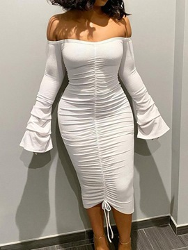 Ericdress Mid-Calf Off Shoulder Lace-Up Bodycon Fall Dress
