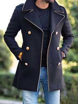 Ericdress Color Block Button Mid-Length European Double-Breasted Coat