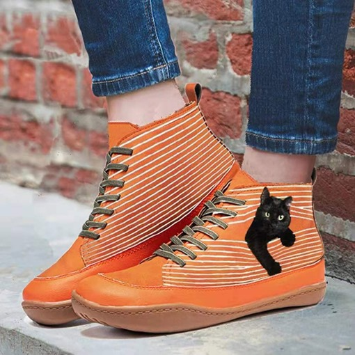 Ericdress Halloween Color Block Flat With Lace-Up Front Korean Boots