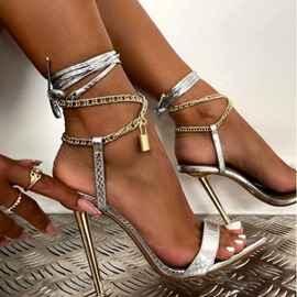 Ericdress Stiletto Heel Lace-Up Pointed Toe Cross Strap Sandals