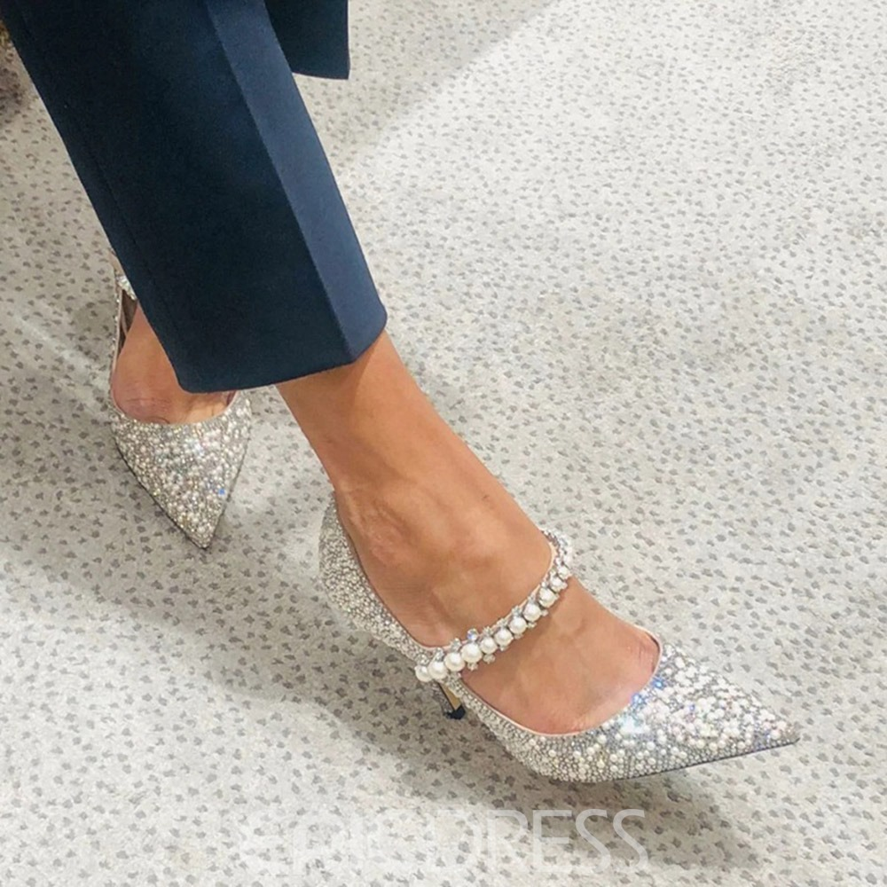 Ericdress Beads Stiletto Heel Pointed Toe Plain Thin Shoes