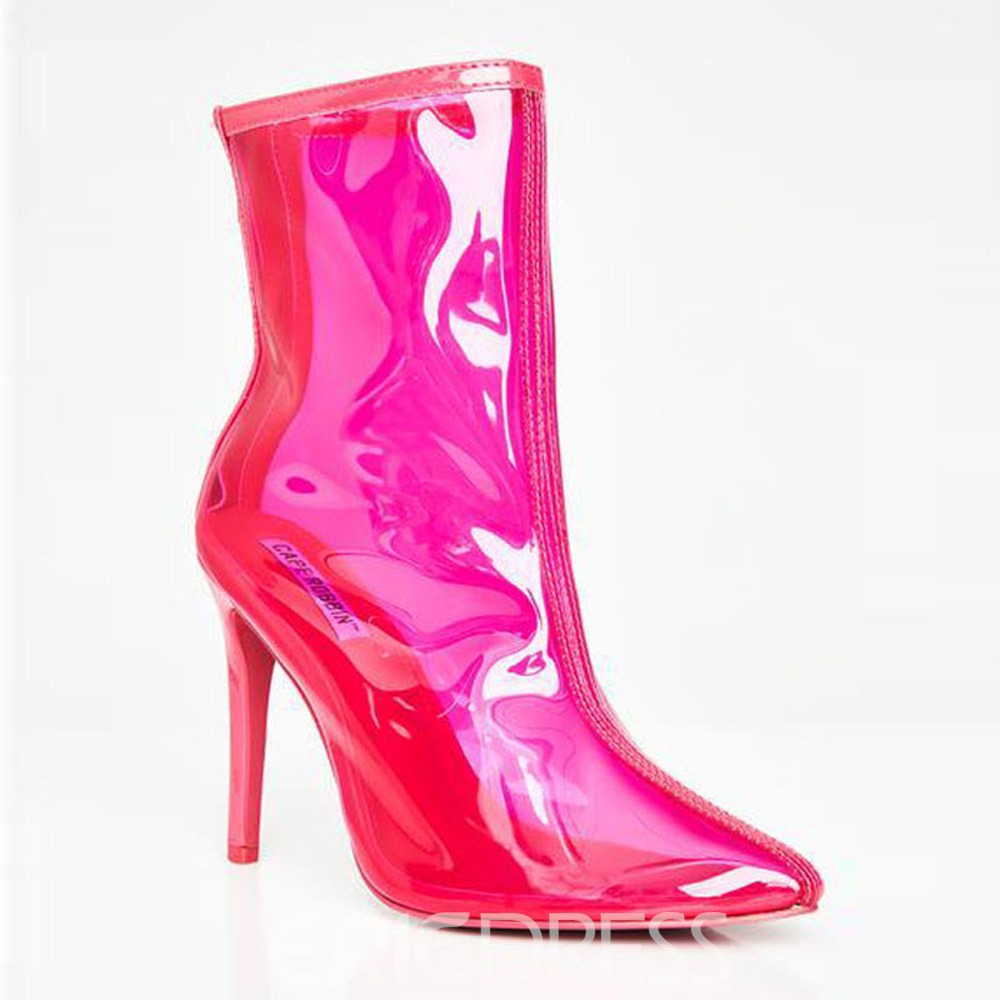 Ericdress Stiletto Heel Pointed Toe Back Zip Microfiber Ankle Boots